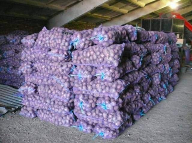 Сетка овощная 100шт 45*75см (до 30кг) с завязкой фиолетовая, мешок сетка