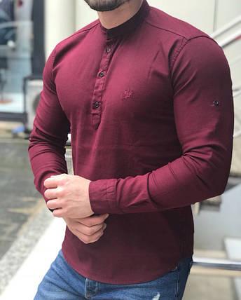 d9e59149784 Стильная мужская рубашка Slim Fit бордовая  продажа