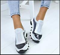 Удобные женские кожаные кроссовки с пайетками черно-белые в.29ра32к