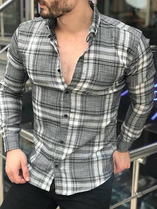 Стильная мужская рубашка в клетку серая  продажа, цена в Киеве ... 940f67823f4