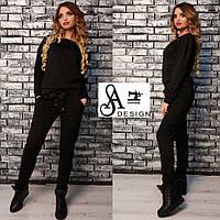 Женский спортивный костюм ткань двухнитка черный, фото 1