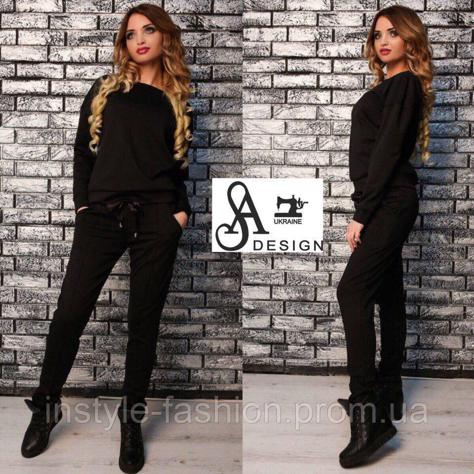 Женский спортивный костюм ткань двухнитка черный