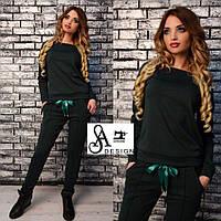 Женский спортивный костюм ткань двухнитка зеленый, фото 1