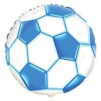 """Воздушный шарик фольгированный """"Футбольный мяч синий""""  1  шт."""