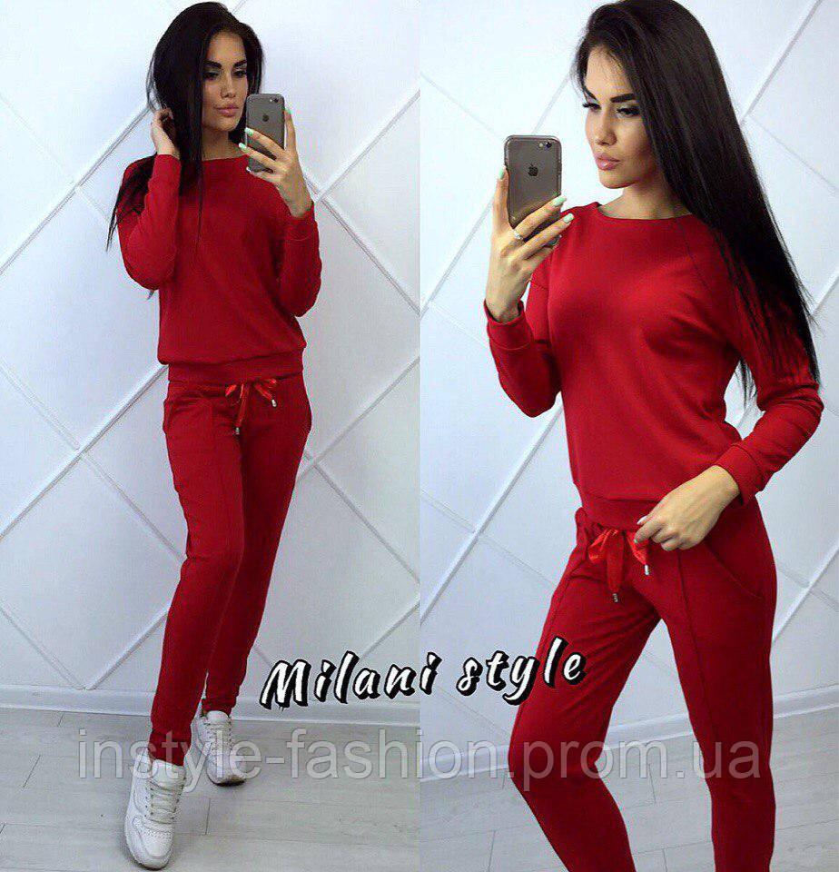 Женский спортивный костюм ткань двухнитка красный