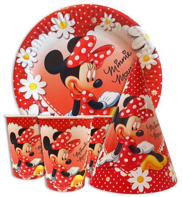 Набір святкової дитячої одноразового посуду Мінні Маус 10 тарілок ,10 стаканчиків , 10 ковпачків