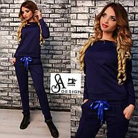 Женский спортивный костюм ткань двухнитка синий