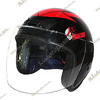 Мотошлем Predators ¾, Котелок, Круизер, Чоппер (Black-Red), фото 1