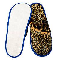 Тапочки для дома и офиса велюровые закрытые с антискользящей подошвой (цвет  леопардовые) ca2529e3ab1d4