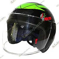 Мотошлем Predators ¾, Котелок, Круизер, Чоппер (Black-Green), фото 1