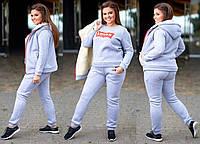 Женский спортивный теплый костюм Levis Левайс тройка ткань трехнитка до 58 размера серый