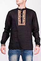 Черная мужская вышиванка длинный рукав (S, M, 2XL, 3XL)
