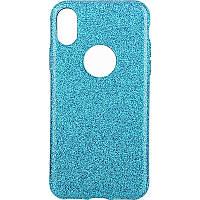 Чехол-накладка TOTO 2 in1 tpu + glitter paper case iPhone X Blue
