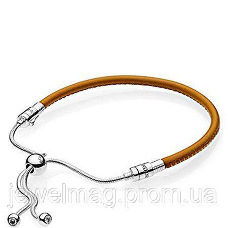 Кожаный коричневый браслет с застежкой-слайдером