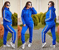 Женский спортивный костюм ткань трехнитка синий