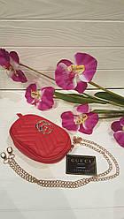 Модная сумка-ремень на пояс или через плечо Gucci  (красный цвет)