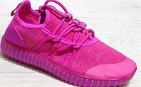 Кроссовки детские светящиеся розовые на шнурках