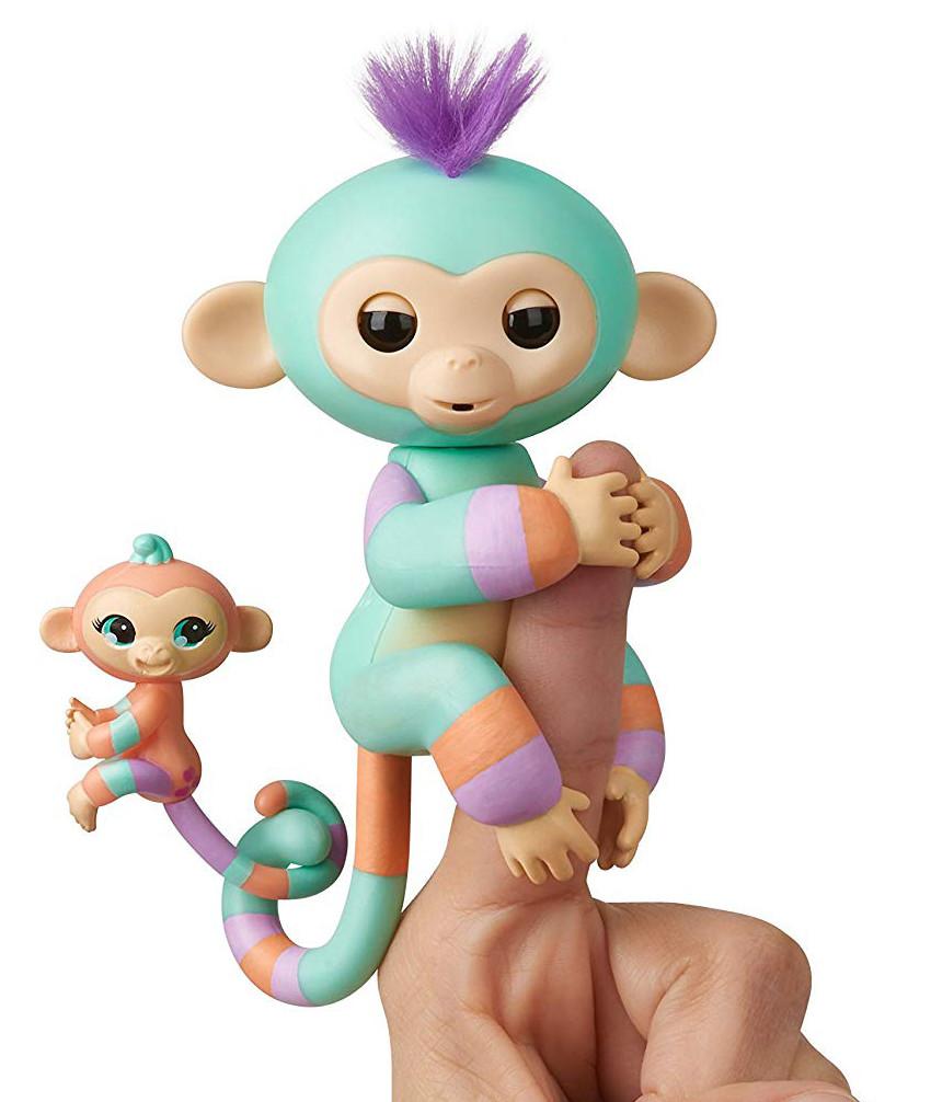 Оригинал интерактивная обезьянка маленькая Дэнни и Джана  WowWee Fingerlings Monkey Danny & Gianna