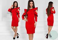 Платье женское короткое из дайвинга с оригинальным рукавом P10361