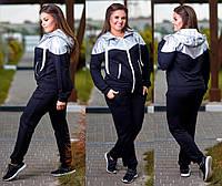Женский спортивный костюм на молнии ткань двухнитка+ эко-кожа до 58 размера черный