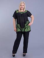 Туника женская черная с зеленым батиком, батал, размер свободный