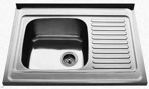 7403 Мойка CRISTAL прямоугольная с полкой, накладная 800x600x180 SATIN Left, фото 2