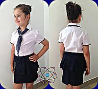Школьная блузка  отделка горох штапель, галстук шифон