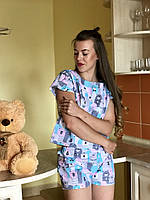 Женская пижама с шортами из хлопка Код п108