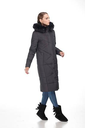 Женский зимний Пуховик с овчиной или мехом енота пальто длинное больших размеров овчина 42-56, фото 2