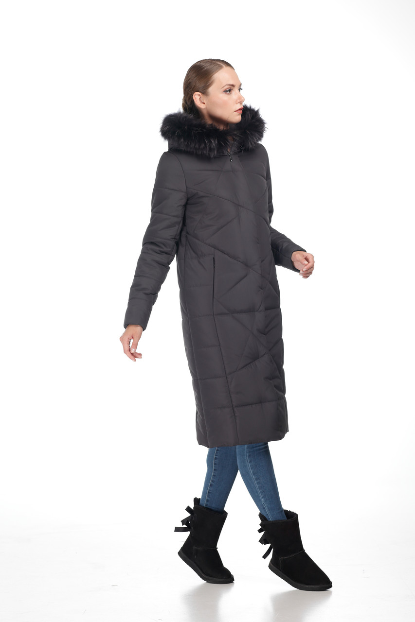 Женский зимний Пуховик с овчиной или мехом енота пальто длинное больших размеров овчина 42-56