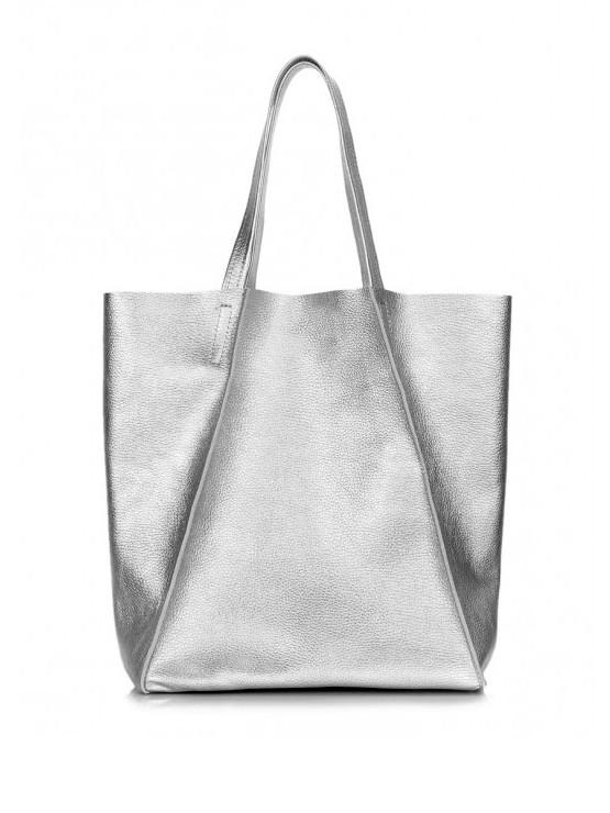 Кожаная сумка серебро 6560-11