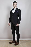 Мужской чёрный костюм-тройка, фото 1