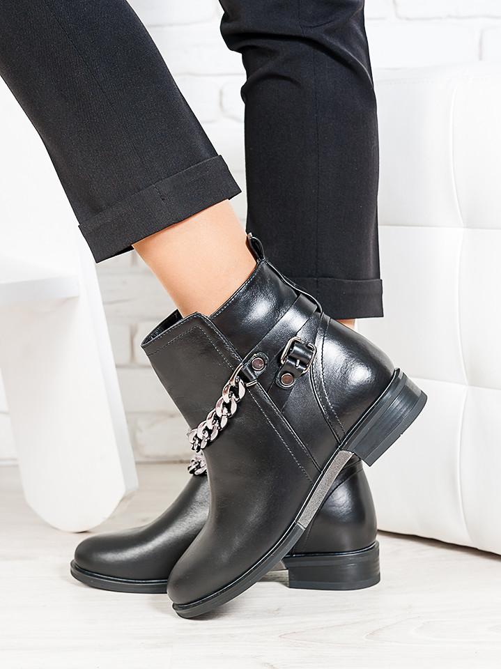 Ботинки кожаные с цепью 6712-28