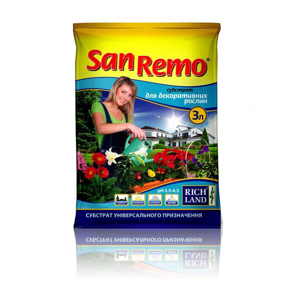 """Субстрат """"SanRemo"""" для декоративно лиственных, 3 л - Готовые субстраты"""