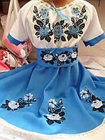 """Вишите плаття для дівчинки """"Анна"""" голубе"""
