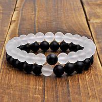 Браслеты для влюбленных из натурального камня черный матовый агат и матовый горный хрусталь, фото 1