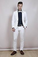 Мужской костюм белый лён , фото 1