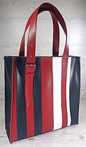 421-к Натуральная кожа,Сумка-пакет на молнии, комбинированный синий белый красный, фото 2
