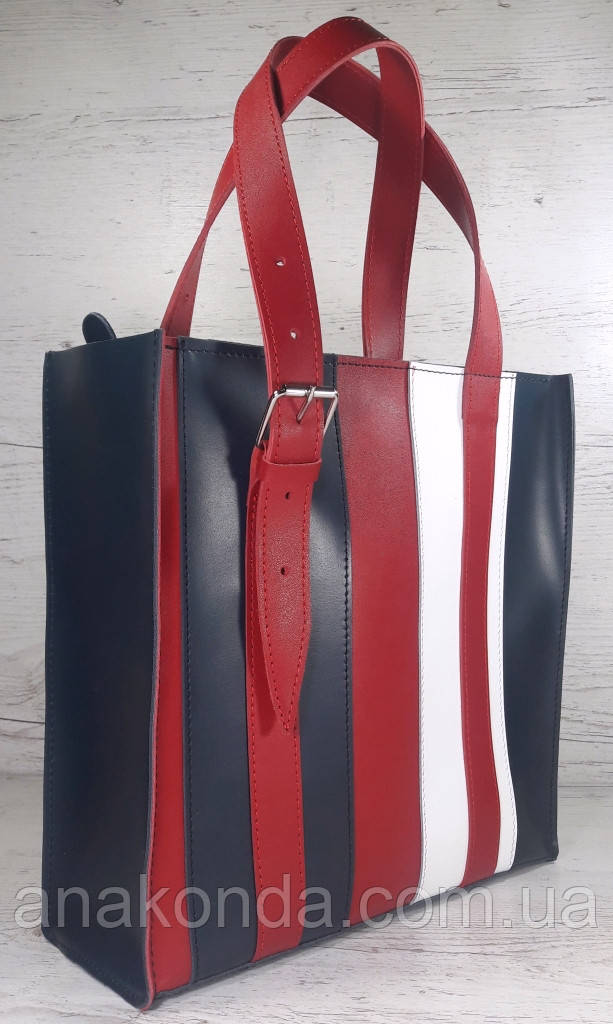 421-к Натуральная кожа,Сумка-пакет на молнии, комбинированный синий белый красный