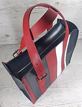 421-к Натуральная кожа,Сумка-пакет на молнии, комбинированный синий белый красный, фото 3