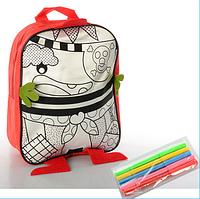 Детский рюкзак раскраска,размер средний,23-28-8см + фломастеры.