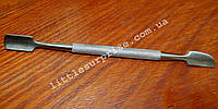 Инструмент маникюрный двухсторонний: пушер с топориком