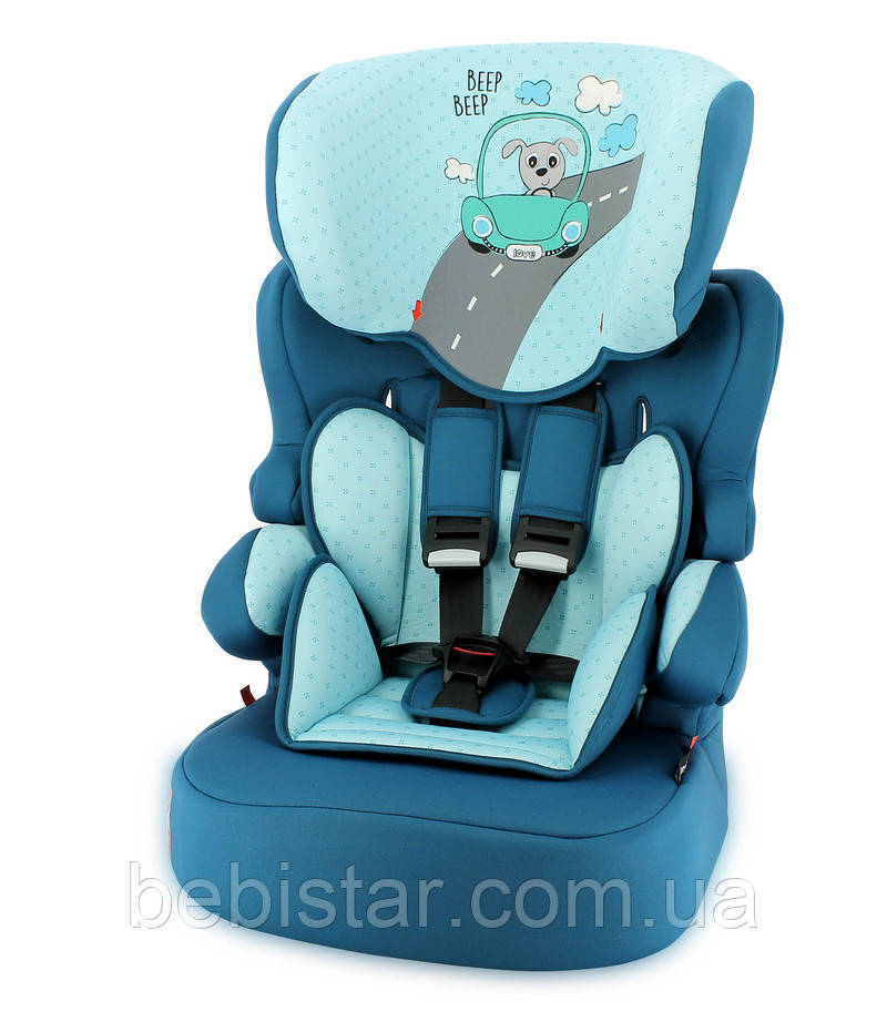 Автокресло зеленовато-голубой Lorelli X-DRIVE PLUS 9-36 KG AQUAMARINE DOG DRIVER