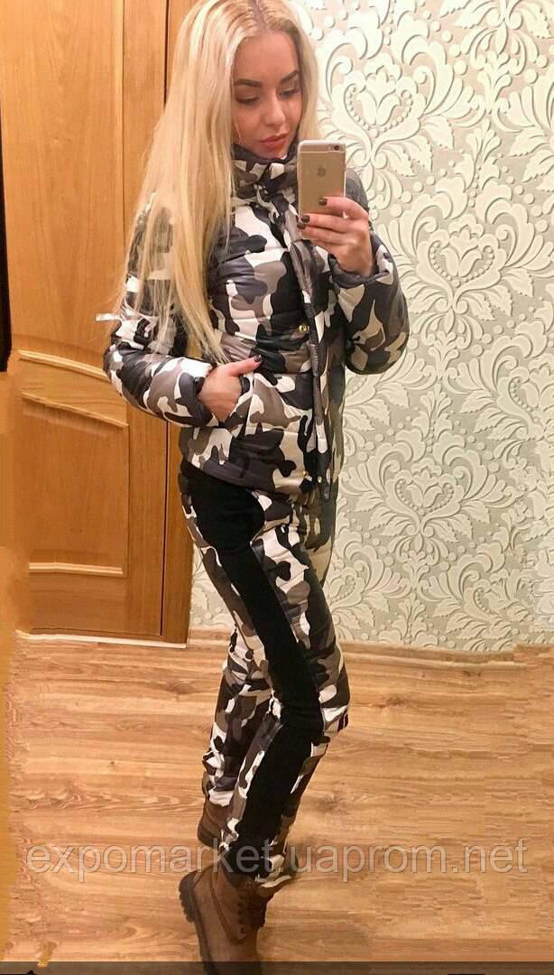 Женский зимний теплый спортивный костюм на синтепоне