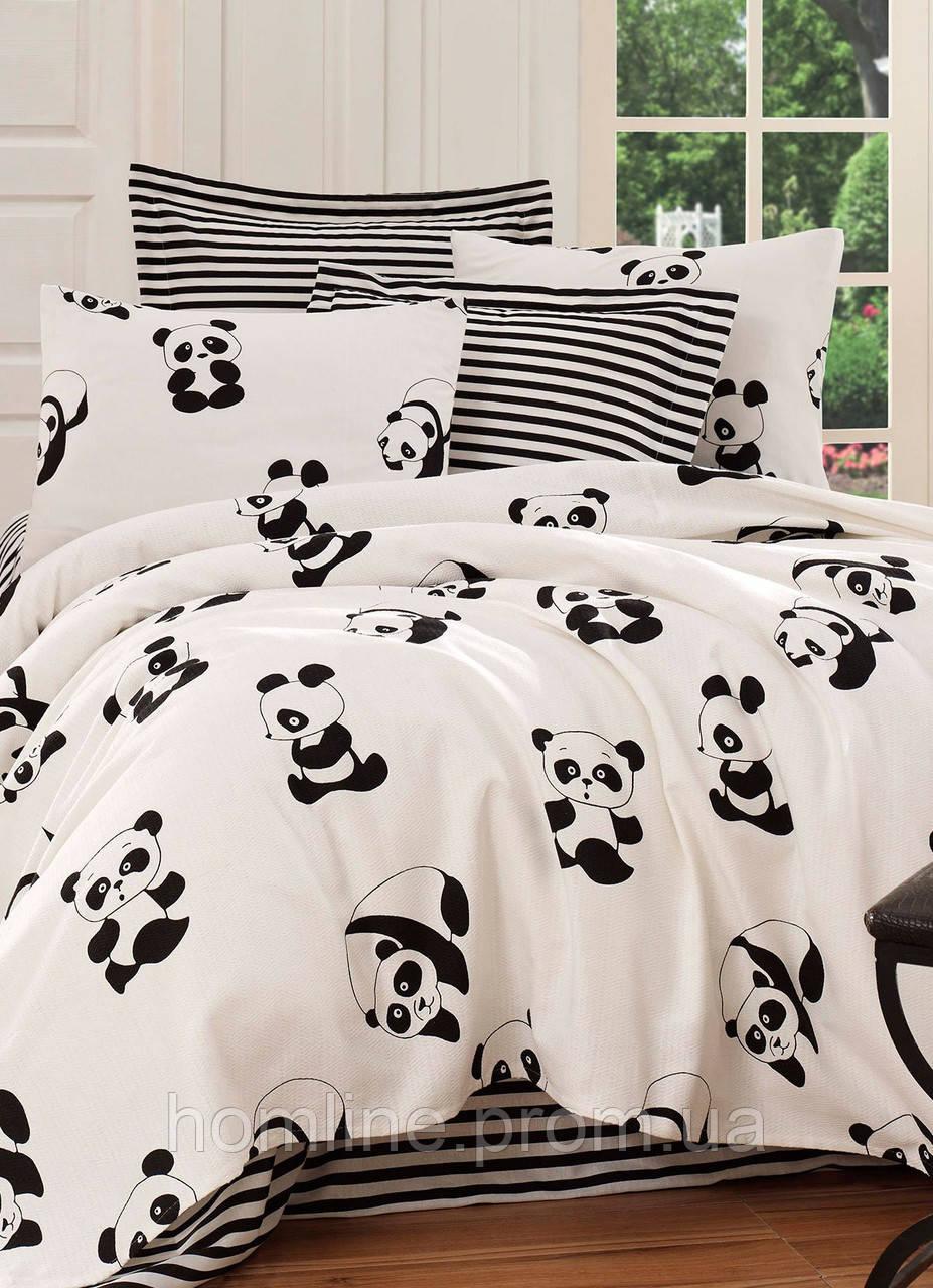 Покрывало 200*235 летнее пике Eponj Home B&W Panda siyah-beyaz черно-белое вафельное