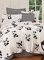 Покрывало 160*235 летнее пике Eponj Home B&W Panda siyah-beyaz черно-белое вафельное
