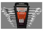 Набір ключів комбінованих, 8 - 19 мм, 8 шт., CrV, полірований хром// MTX
