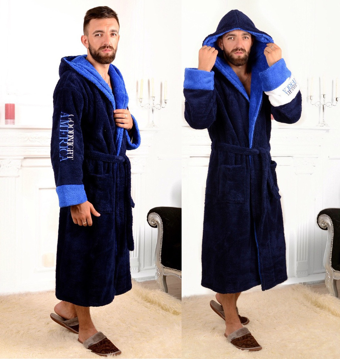 323bc714923e8 Мужской махровый тёплый халат с капюшоном. Т.синий, 4 цвета., цена ...