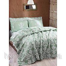 Покрывало 160*235 летнее пике Eponj Home Pure suyesil зеленый вафельное