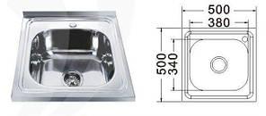 MR 5050 Мийка прямокутна накладна 500х500х180 Polish, фото 2